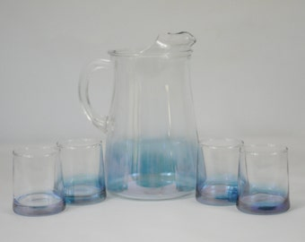 Vintage Blue And Clear Glass Pitcher And Four Juice Glasses Graduated Color