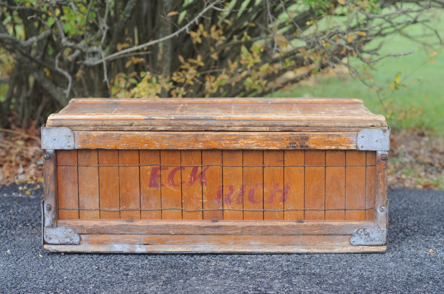 Antique Wooden Trunk Box Chest Eckrich Shipping Crate Coffee Table Haute Juice