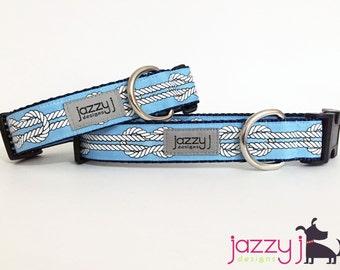 Nautical Knots Light Blue Dog Collar