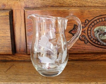 Crystal Pitcher- Vintage/ Antique Hand Cut and Etched- Made in Roumania- Small Size- Sauces, Gravy, Syrup, Creamer