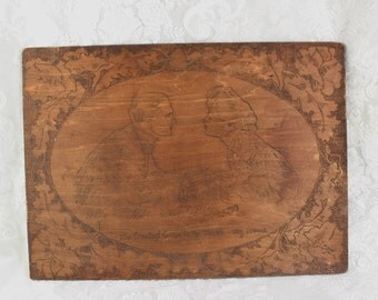 Pyrograph Wall Hanging- Antique Victorian Burnt Wood Etching- Romantic Couple- 'The Greatest Game in the World'- Hand Made Folk Art