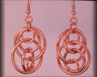 Bright Copper illusion hoop earrings, copper dangle earrings, gifts for her, copper hoop earrings, chain mail earrings