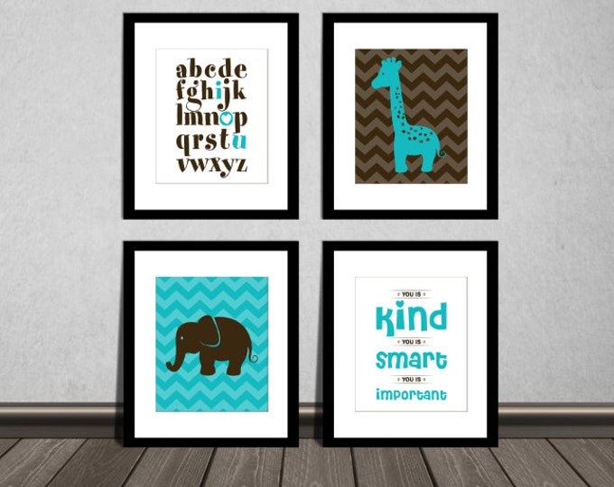 The Help Movie. You is kind, smart, important, ABC alphabet, Elephant and Giraffe. Neutral, Teal brown, Downloadable. Print it yourself.