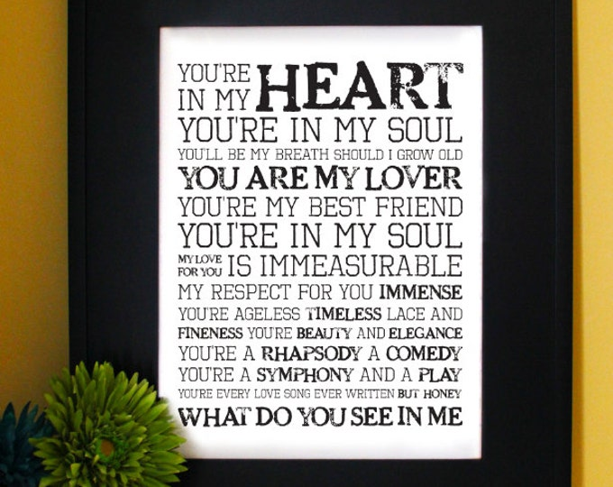 Rod Stewart - You are in my heart Lyrics. Inspirational Quote. Subway Art. Unframed.