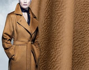 "Fabulous coffee brown Cashmere Wool Fabric 2016 Fall/Winter - 59"" width 576g - beautiful fashion wool fabric for winter coat - 1 yard"