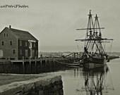 Black and White Photography, Derby Wharf Maritime Museum, Salem, Mass., Travel Photography, Tallship Photos, Nautical Decor, Historic