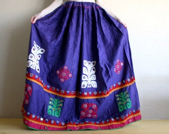 Long skirt - Maxi Skirt - Peasant Skirt -Violet - embroidered skirt Chandrika Shop - AUTHENTIC VINTAGE