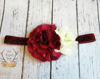 Cream & Burgandy Glitter Headband with Satin  Tulle - Frosted Cranberry -  Baby Toddlers Girls Women Maroon Pearl Rhinestone Flower Girl