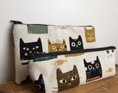 Cats and Fish Pencil Case, Cute Pencil Pouch, Cat Pouch, Back to School