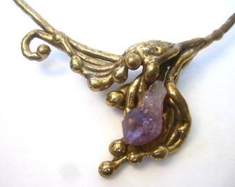 1970s Amethyst Artisan Brass Metal Choker Necklace