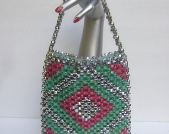 1970s Glittering Plastic Beaded Evening Bag c 1970s
