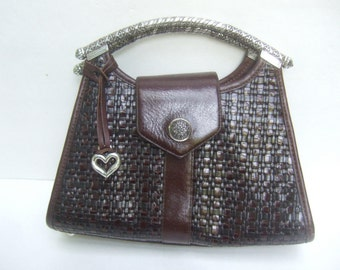 Brighton Brown Woven Leather Handbag