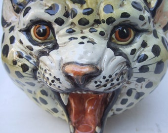 Exotic Porcelain Leopard Head Bowl Made in Italy c 1970s
