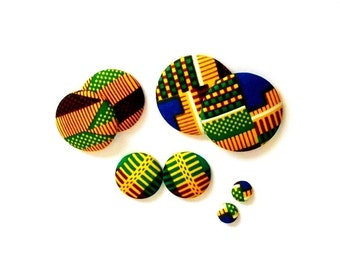 Button Fab - Traditional Green African Kente Print Fabric Buttons and Studs