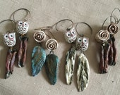 drift wood handmade raku wing woodland creature owl rose Statement Earrings Jewelry by ZILLAS QUEEN