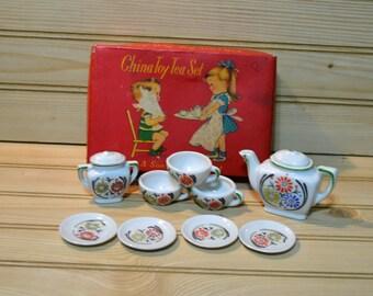 Vintage Sonsco China Toy Tea Set Kids Children Flower Design Made in Japan Role Play Imagination