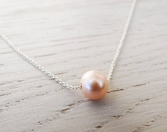 Floating Pink Pearl Necklace - Sterling Silver