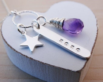 Silver Star Necklace 'XOXO' & Amethyst - Sterling Silver