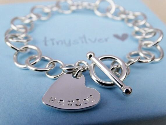 Sterling Silver Link Bracelet With Heart