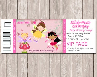 Fairy Themed Personalised Ticket Style Birthday Invitation - YOU PRINT