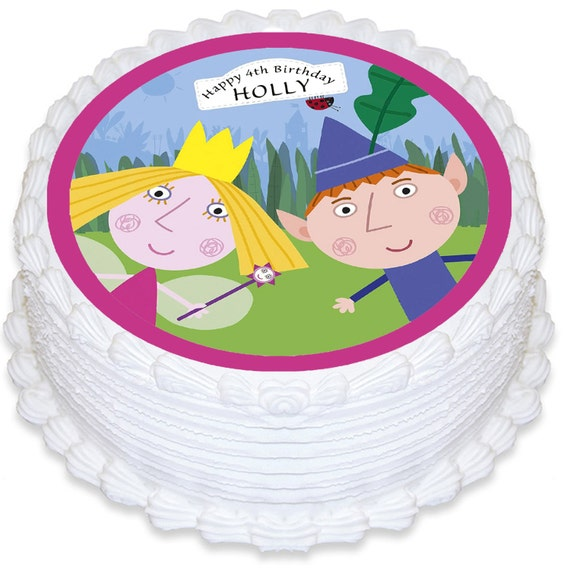 Ben & Holly Personalised Round Edible Cake Topper PRE-CUT