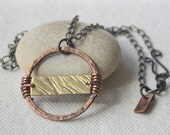 Mixed Metal Copper Circle Brass Rectangle Necklace