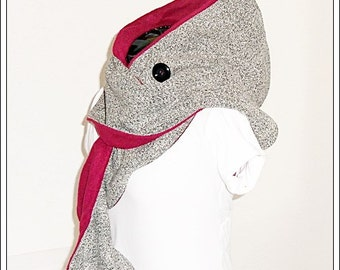 Hooded scarf (long) grey mix/bordeaux