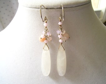 CLEARANCE Rose Quartz Long Drop & Dangle Vintage Earrings with Mixture of Pink Beads Above the Long Rose Quartz Drops.