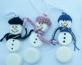 Plastic Bottle Cap Snowman Ornaments x 5