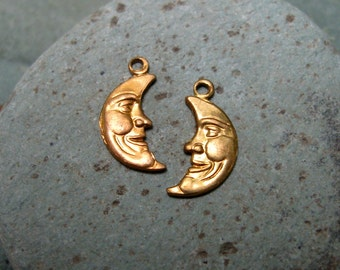 Vintage 10mm Right and Left Moon Crescent Brass Findings.  2 dz.