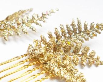 Gold Laurel Hair Comb, Grecian Leaf Hair Clip