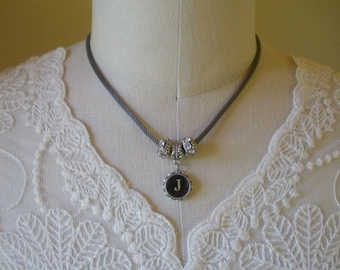 Typewriter Key Necklace with European Style Beads-- Choice Of Letter--