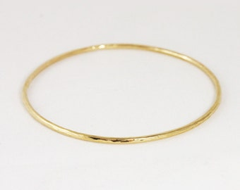 2mm 14k Gold Hammered Bangle Bracelet - Simple Gold Bracelet - Stacking Bangle Bracelet