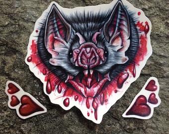 Bat Temporary Tattoo - Halloween Tattoo - Blood Tattoo - Horror Tattoo - Gothic Tattoo - Vampire Tattoo - Vampire Bat