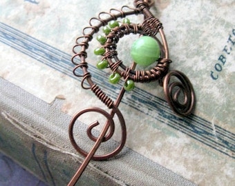 Green Copper Shawl Pin,Scarf  Pin, Hair Slide or Pin / Fibula/ Wire Wrapped Jewelry /  Hammered Copper Brooch / Wire Wrap Hair Accessories