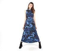 70s Divine Pucci -Esque Psychedelic Pop Art Glitter Lurex Maxi Bandage / Bodycon Dress - W Lace Up Back