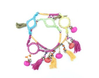 RAINBOW MIRROR Indian Pom Pom + Tassle ORNATE Woven Choker Necklace - Wear 2 Ways!