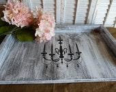 SALE Ready To Ship Cottage Chic, White Tray, Wooden Tray, Ottoman Tray, Serving Tray, Kitchen Decor, Parisian Chic Decor