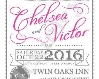 You're Invited Wedding Invitation, invitation, wedding invitation, pink invitation, wedding,