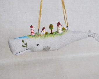 Stuffed White Whale Hangning Decoration or Wall Decor lighthouse and tiny village baby shower Nursery decor