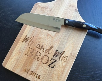 "Personalized Cutting Board - Custom Engraved ""Mr. & Mrs.""  Unique Wedding Gift, Housewarming Gift"