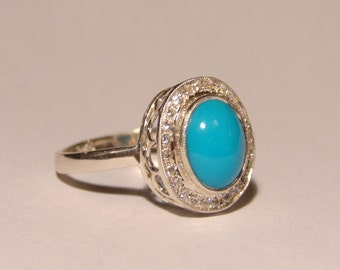 925 Sterling Silver Turquoise CZ Ring