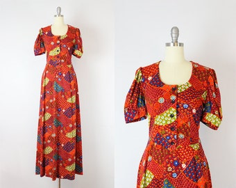 vintage 70s novelty print dress / 1970s graphic print maxi dress / bright print dress / tree country print dress / Sewn Seeds dress