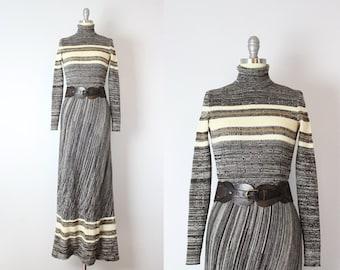 vintage 70s knit dress / 1970s metallic striped knit maxi dress / space dye dress / Italian knit dress / brown and gold dress