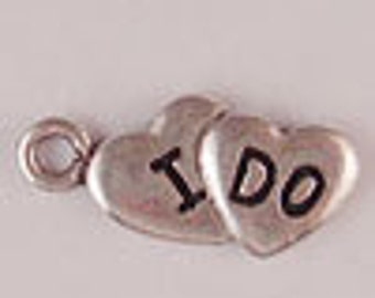 "Set of 4 ""I Do"" Hearts Pewter Wedding Charms, Jewelry & Scrapbook Supplies, DIY Craft Supply, Pendant, Lead Compliant 80017"