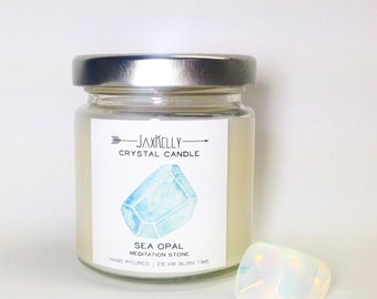 "Sea Opal Crystal Candle ""Little Sister"""