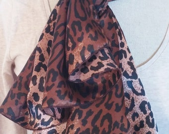 Cheetah Satin Scarf, Black and Brown Rectangle Scarf, Accessory, Gift Idea, Affordable, FREE Shipping, Made in USA