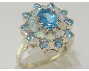 Solid 925 Sterling Silver Natural Blue Topaz & Opal Large Cluster Flower Ring, English Vintage Design Ring - Customizable