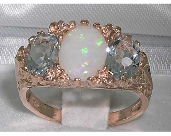 Large Natural Colourful Opal and Aquamarine 9K Rose Gold Antique Art Nouveau Deco Design Ring, English Vintage Scroll Design Ring