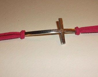 Large sideways cross suede bracelet, pick your color